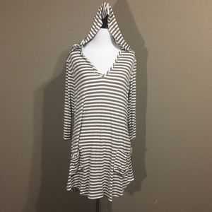 Striped V-Neck Hoodie With Pockets